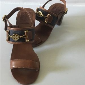 Tory Burch bluejean and brown leather Sandals 6.5